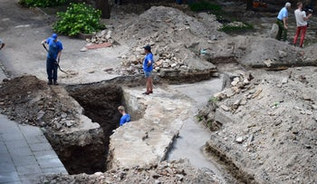 Archaeological digs in the school, Vilna, Lithuania