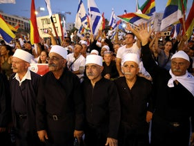 Leaders from the Druze minority together with others take part in a rally to protest against the nation-state law, Tel Aviv, Israel, August 4, 2018.