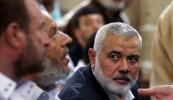 Hamas Chief Ismail Haniyeh attending the funeral of Hamas militants who were killed by Israeli tank fire, July 26, 2018.