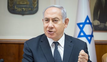 Prime Minister Benjamin Netanyahu at a government meeting on August 5, 2018.