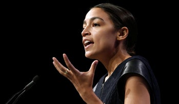 Alexandria Ocasio-Cortez speaks at the Netroots Nation annual conference in New Orleans, August 4, 2018.