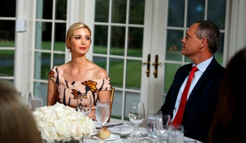 Ivanka Trump and Honeywell CEO Darius Adamczyk, right, attend a dinner meeting President Donald Trump and other business leaders, Tuesday, Aug. 7, 2018