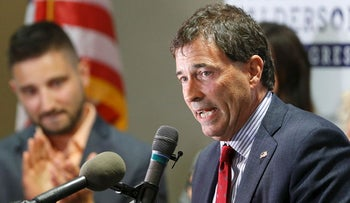 Troy Balderson, Republican candidate for Ohio's 12th Congressional District, speaks to a crowd of supporters during an election night party Tuesday, Aug. 7, 2018, in Newark, Ohio