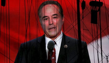 Representative Chris Collins (R-NY) is seen on a screen as he delivers his nomination speech for Republican U.S. Presidential candidate Donald Trump at the Republican National Convention in Cleveland, Ohio, U.S. July 19, 2016