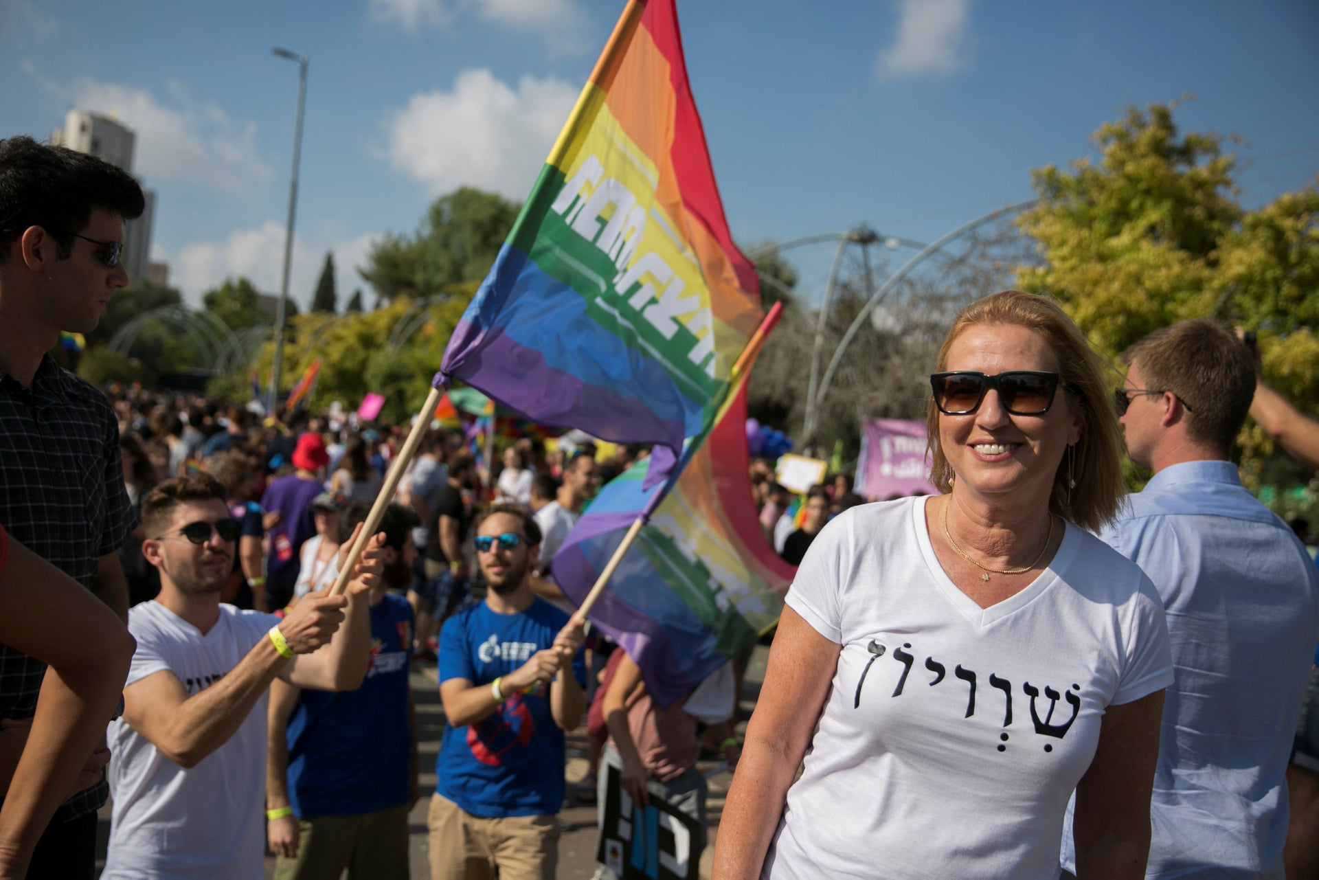 Tzipi Livni take part in the annual Jerusalem Gay Pride parade on August 2, 2018.