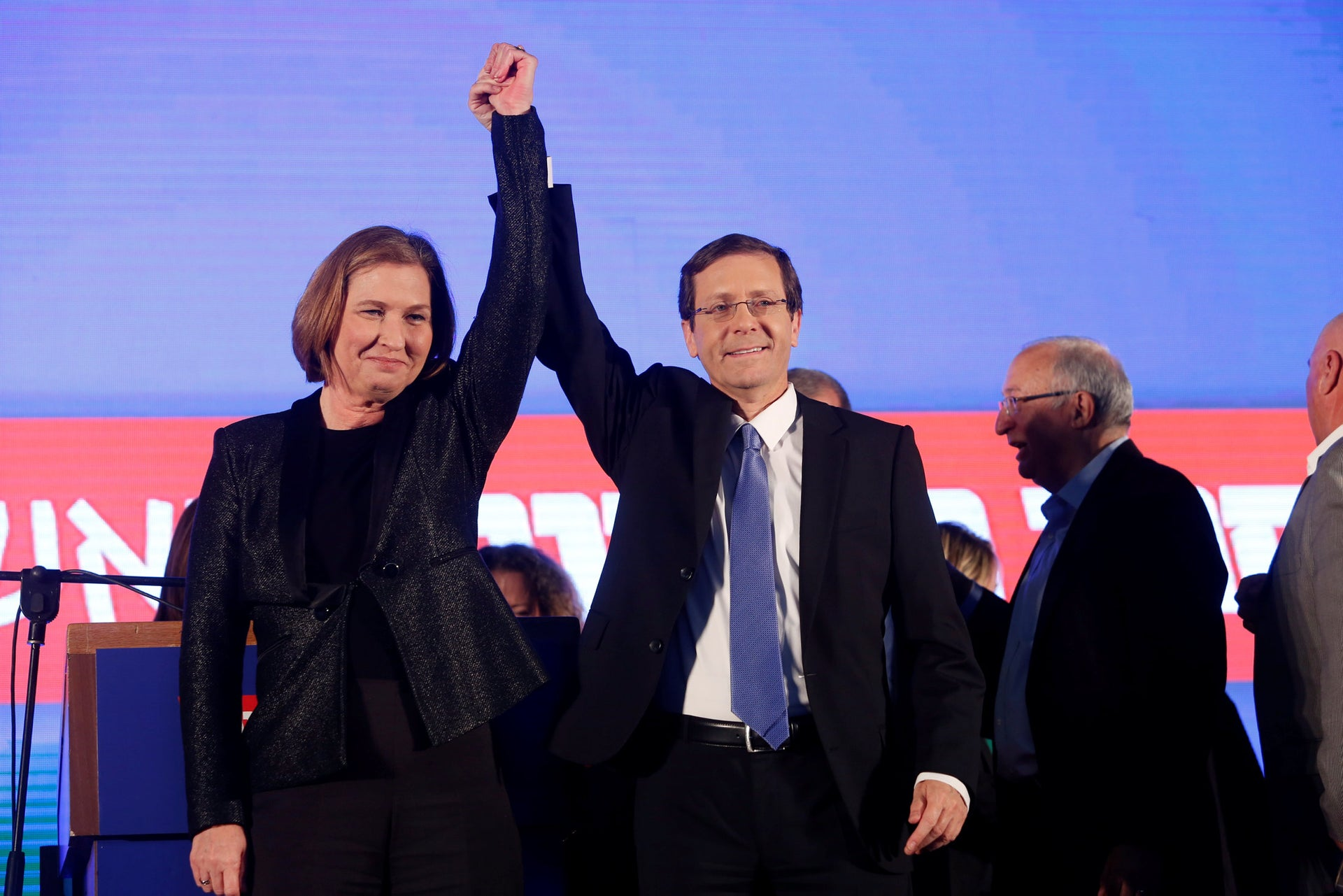 Tzipi Livni and Isaac Herzog at the Zionist Union party election headquarters in Tel Aviv, Israel, March 18, 2015.