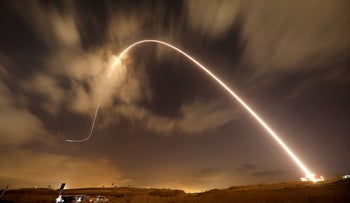 Iron Dome anti-missile system fires an interceptor missile as rockets are launched from Gaza towards Israel near the southern city of Sderot, Israel August 9, 2018.