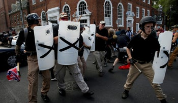 File photo: Members of white nationalists clash against a group of counter-protesters in Charlottesville, Virginia, U.S., August 12, 2017.