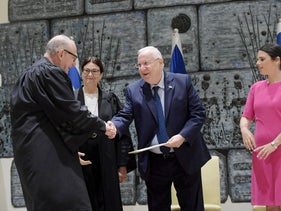 New Justice Alex Stein, Supreme Court President Esther Hayut, President Reuven Rivlin and Justice Minister Ayelet Shaked at the President's Residence, August 9, 2018.