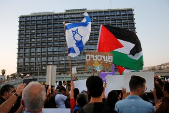 Protesters at the march against the nation-state law in Tel Aviv, August 11, 2018.