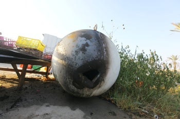 The rocket that fell on the Thai workers' compound, August 9, 2018.