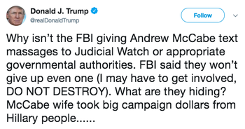 Screen shot of Trump's 'text massages' tweet before it was deleted