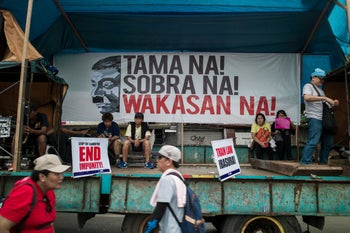 Protest by human rights activists in the Philippine's against President Rodrigo Duterte's State of the Nation address, July 23, 2018.