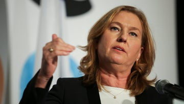 Tzipi Livni, the recently appointed Leader of the Opposition, gives a speech.