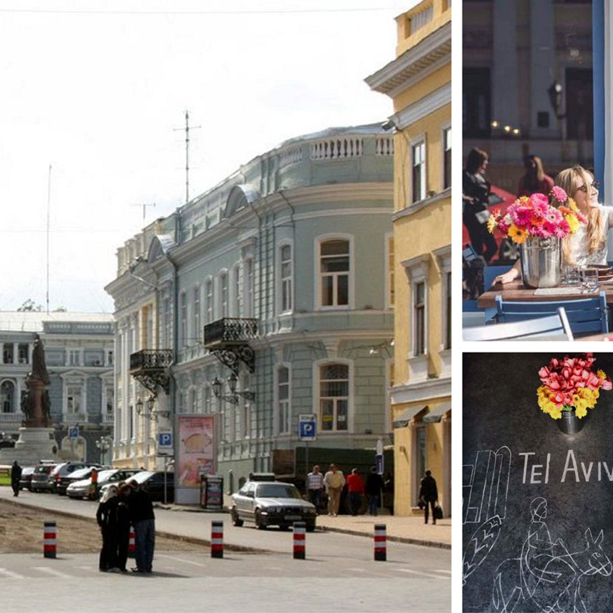 "The center of Odessa, above. Top and bottom right: The Dizyngoff restaurant, which is ""influenced by Jewish and Israeli culture but is essentially Odessan,"" says co-founder Alexander Vlasopolov."