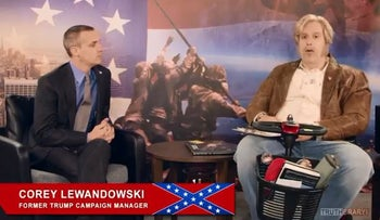 "Sacha Baron Cohen and Corey Lewandowski on the latest episode of ""Who is America?"""
