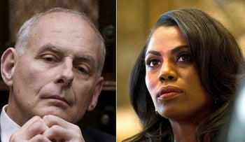 White House Chief of Staff John Kelly listens to US President Donald Trump during a working lunch with governors in the Roosevelt Room of the White House, in Washington, DC, on June 21, 2018 and Omarosa Manigault, a staffer for US President-elect Donald Trump, listens as Martin Luther King III speaks to the media after meeting with the President-elect at Trump Tower in New York City on January 16, 2017