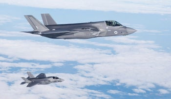 The Royal Air Force's first delivery of F35B aircraft fly from Marine Corps Air Station Beaufort, U.S. toward their new base RAF Marnham, Britain, June 6, 2018.