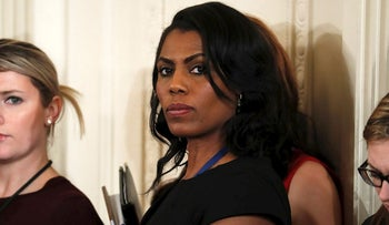 In this Feb. 13, 2017 file photo, White House Director of communications for the Office of Public Liaison Omarosa Manigault waits for the start of a joint news conference with President Donald Trump and Canadian Prime Minister Justin Trudeau at the White House in Washington