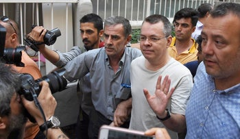 Andrew Brunson arrives at his home after being released from the prison in Izmir, Turkey July 25, 2018.