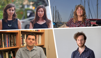 Israel's detained for questioning a slew of left-wing activists and journalists, including those pictured here: Simone Zimmerman and Abby Kirschbaum, Yehudit Ilani, Peter Beinart and Moriel Rothman.