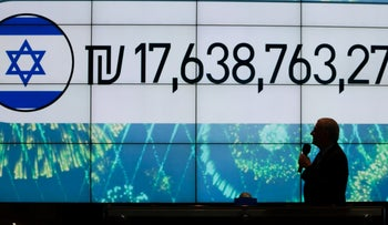 Israel's national 'worth' displayed on a screen at the Tel Aviv Stock Exchange, August 14, 2018.