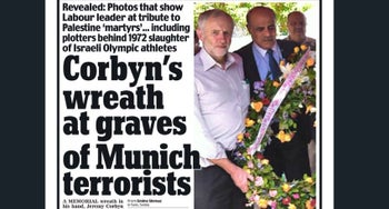 Cover of the Daily Mail reporting Jeremy Corbyn visited graves of Munich terrorists