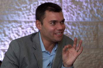 Peter Beinart during an interview with The Associated Press in Jerusalem, August 12, 2018.