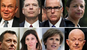 These file photos, top row from left are former CIA Director Michael Hayden, former FBI Director James Comey, former acting FBI director Andrew McCabe and former national security adviser Susan Rice. Bottom row from left are former FBI Deputy Assistant Director Peter Strzok, former Deputy Attorney General Sally Yates and former National Intelligence Director James Clapper