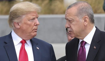 Donald Trump and Recep Tayyip Erdogan at the Nato summit in Brussels, July 11, 2018.
