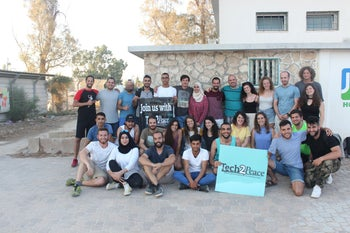 A team picture at a Tech2Peace summer academy in Yeruham, August 2018.