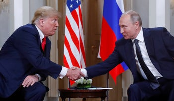 U.S. President Donald Trump and Russian President Vladimir Putin in Helsinki, Finland, July 16, 2018