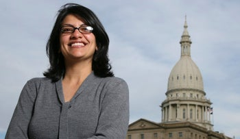 Rashida Tlaib photographed outside the Michigan Capitol in Lansing, Michigan.