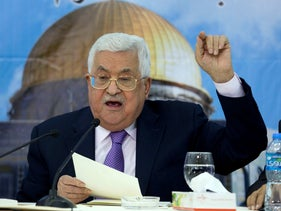 Palestinian President Mahmoud Abbas speaks during a meeting with top decision-making body, the Palestinian Central Council, at his headquarters in the West Bank city of Ramallah, Wednesday, Aug. 15, 2018.