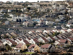 """Houses in Ofra settlement. """"No map can overcome historical truth: Most of the Palestinian people's land was taken from them in 1948."""""""