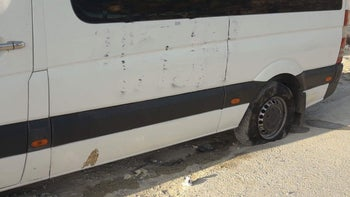 A car damaged in a suspected hate crime in East Jerusalem on August 18, 2018.