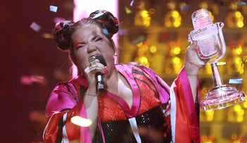 Netta Barzilai celebrating after winning the Eurovision song contest in Lisbon, Portugal.
