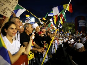 Israelis from the Druze community, together with others, take part in a rally to protest against the nation-state law, Tel Aviv, Israel, August 4, 2018.