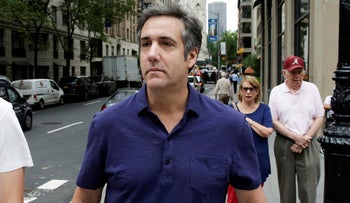 In a Monday, July 30, 2018 file photo, Michael Cohen, formerly a lawyer for President Trump, leaves his hotel, in New York.