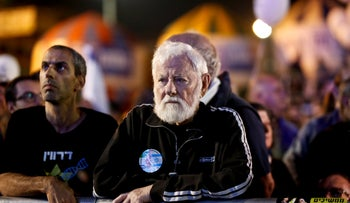Uri Avnery at Rabin Square, 2017