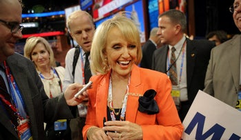 """FILE PHOTO: Janice Kay """"Jan"""" Brewer, former governor of Arizona, in Tampa, Florida, U.S., on Tuesday, Aug. 28, 2012."""