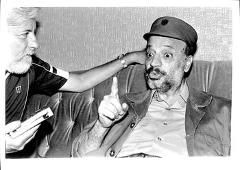 Uri Avenry meeting with Yasser Arafat in Beirut, July 3, 1982.