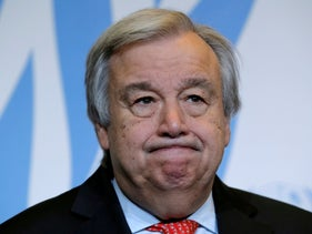 FILE PHOTO: United Nations Secretary-General Antonio Guterres gives a statement after delivering a speech on disarmament and denuclearisation at the University of Geneva (UNIGE) in Geneva, Switzerland, May 24, 2018.