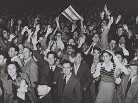 Celebrations in Tel Aviv after the publication of the results of the United Nations General Assembly vote, November 29 1947.