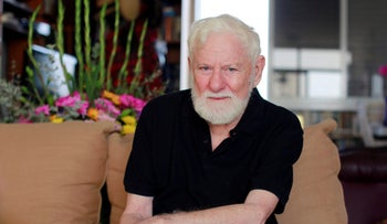Uri Avnery in his home.