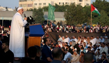 Ismail Haniyeh speaking after Eid al-Adha prayers in Gaza City, today.