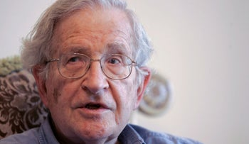 Noam Chomsky, who is a fierce critic of Israel, speaks to the media at a friend's house in Amman, Jordan, Monday, May, 17, 2010.
