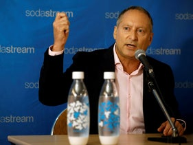 Daniel Birnbaum, CEO of SodaStream, speaks during a meeting with Ramon Laguarta, Elected Chief Executive Officer of PepsiCo in Tel Aviv, Israel, August 20, 2018.