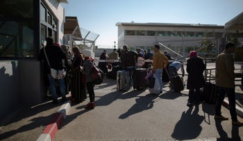 Palestinians stand in line at Erez crossing on the Israel-Gaza border, 2017.