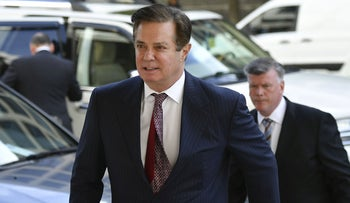 Former Trump campaign chairman Paul Manafort leaves Federal Court in Washington, DC., August 21, 2018.